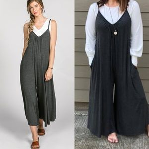 5967e123584 Gathered V-neck Jumpsuit Dk Charcoal